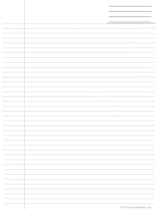 lined project paper