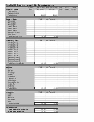 Bill Organizer Template Worksheet in Microsoft Excel