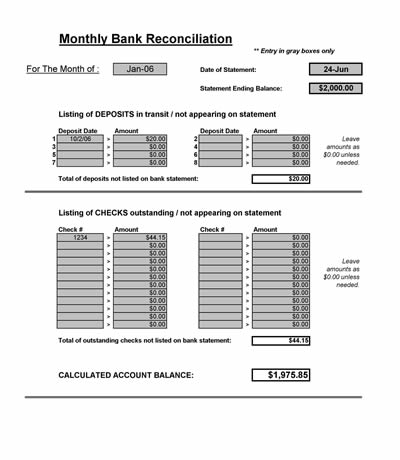 bank reconciliation spreadsheet sample
