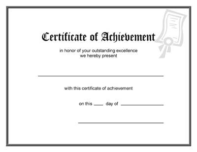 Blank Award Certificate Template – Blank Achievement Certificates