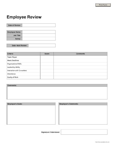 Free Printable Employee Review Form – Sample Employee Evaluation Forms