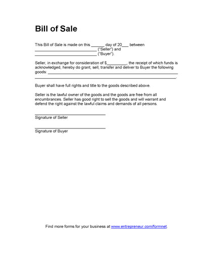 Basic Bill of Sale Form Printable Blank Form Template – Legal Bill of Sale Template