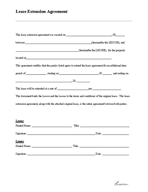 Blank Rental Agreement. Free Printable Lease Extension Form Lease ...