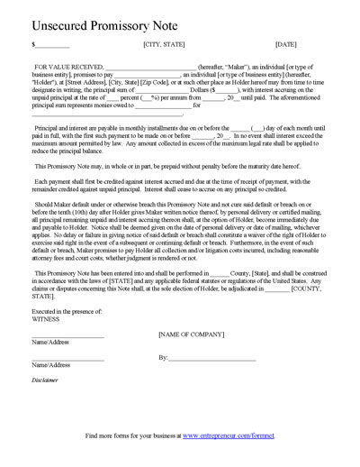 Promissory Note - Template - Printable Editable Form