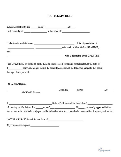 Free Printable Quitclaim Deed