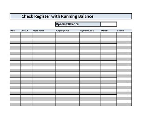 Checkbook Register Spreadsheet Microsoft Excel – Check Registers