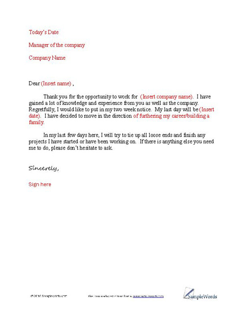 Basic Letter of Resignation Sample