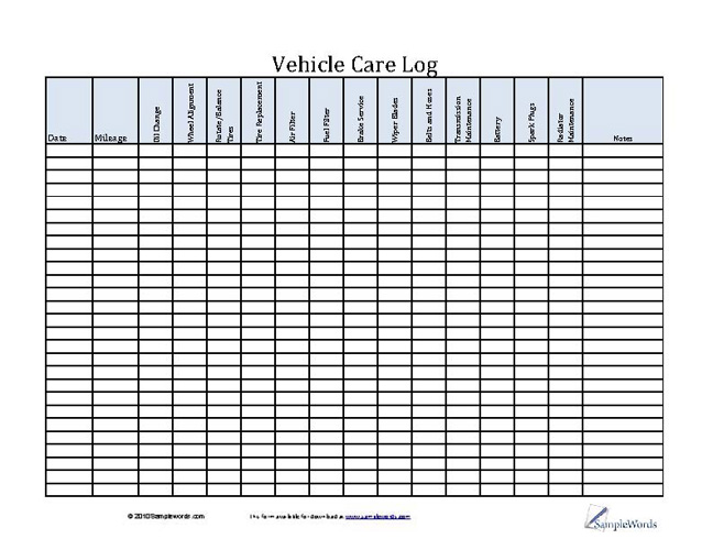 Vehicle Care Log - Printable PDF Form for Car Maintenance