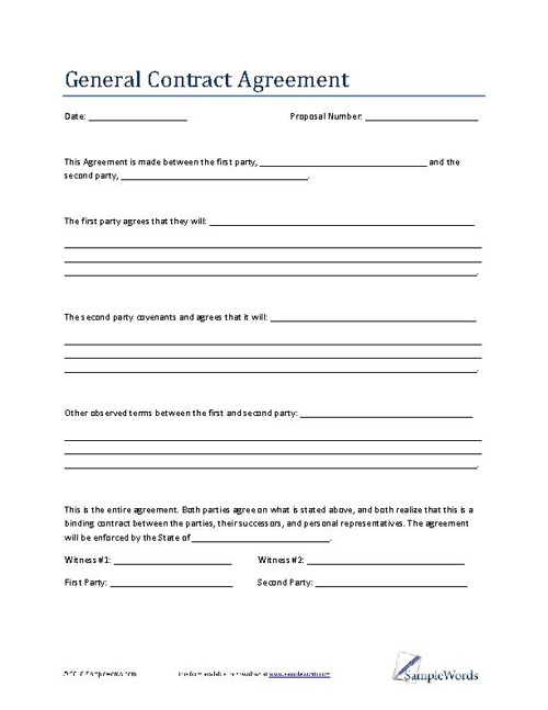 General Contract Agreement Template Business Contract – Sample Agreements Between Two Parties