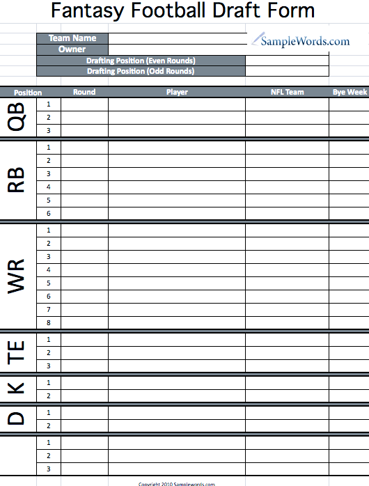 fantasy football draft board template - blank fantasy football draft sheet white gold