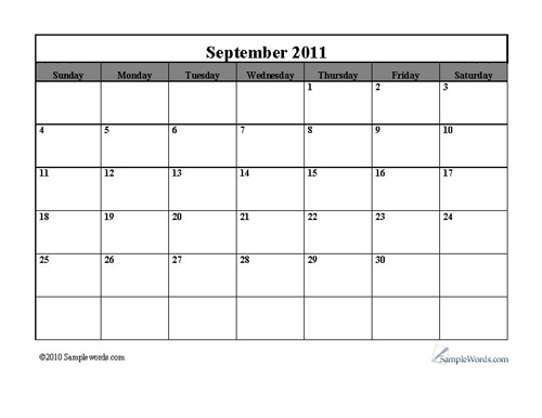 September 2011 Monthly Calendar