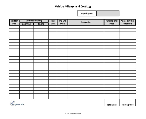 Click to view another Vehicle Mileage Expense Form