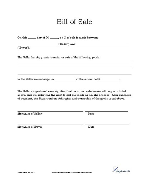 Basic Bill of Sale Form Printable Blank Form Template – Bill of Sale Word Document
