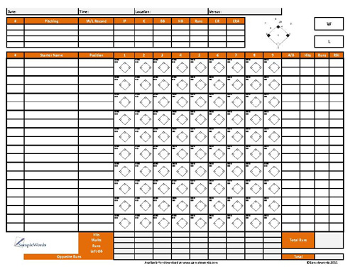 Softball Score Sheet Template. Printable Softball Score Sheet