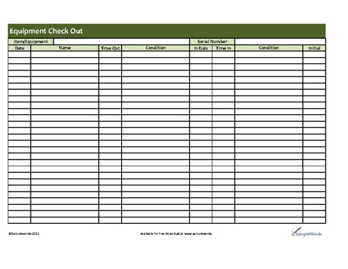 Printable Equipment Check-Out Form