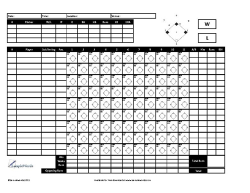 Baseball Scoresheet Free Download – Baseball Scoresheet