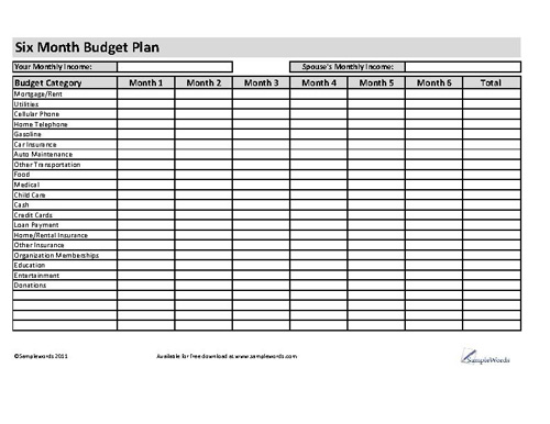 Six Month Budget Plan