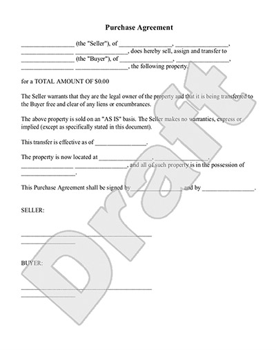 Purchase Agreement Template  Property Purchase Agreement Template