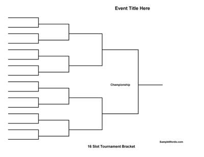 Free printable 16 team tournament bracket for Knockout draw sheet template