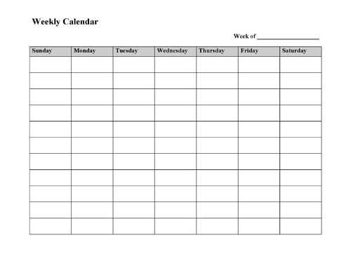 Free printable weekly calendar template for Week by week planner template
