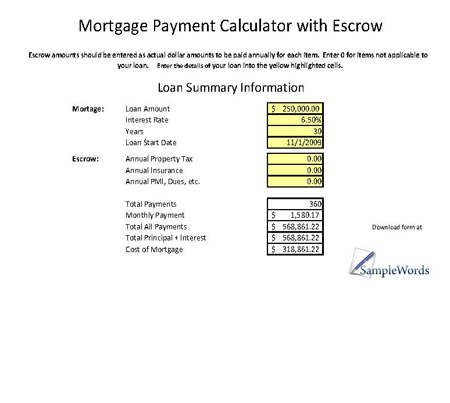 simple mortgage calculator escrow excel xls
