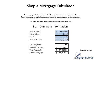 download simple mortgage calculator