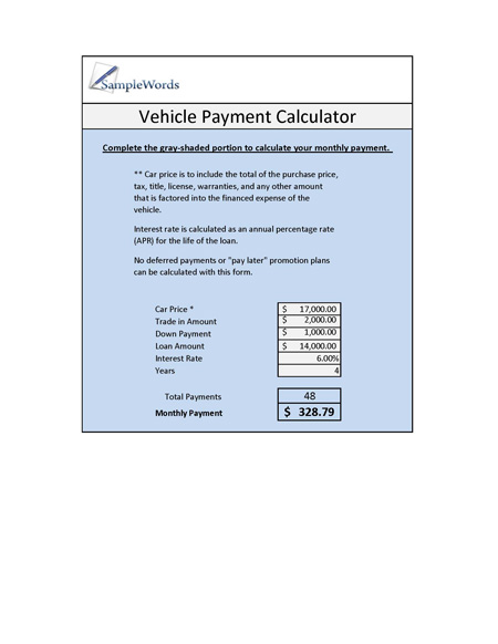Vehicle Loan Calculator Microsoft Excel