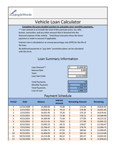 vehical loan calculator excel schedule