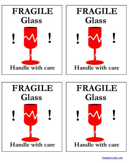 print shipping label fragile glass pdf