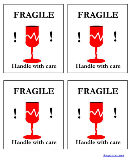graphic about Fragile Glass Labels Printable titled Delicate Take care of With Treatment Shipping and delivery Label - Several For each Web page