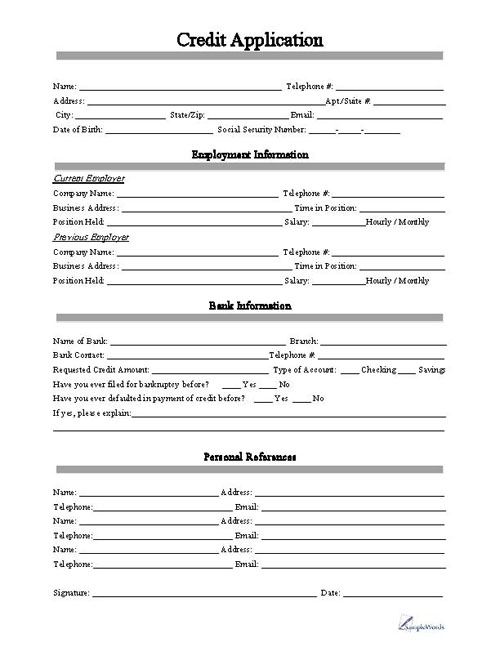 Printable Application Form | Credit Application Form