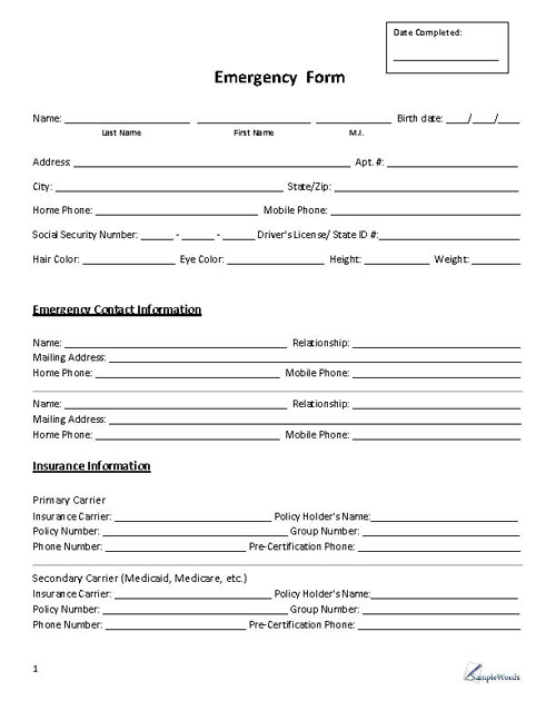 picture regarding Printable Emergency Contact Form known as Crisis Variety - Make contact with