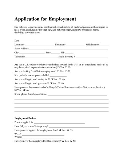 free application for employment