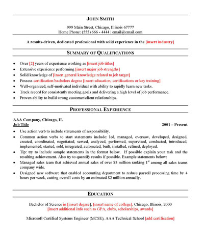 Quality professional resume