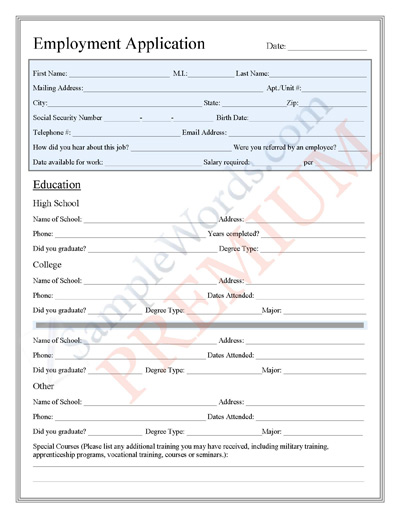 application form for job premium