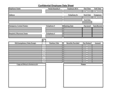 excel template employee information - employee data sheet table