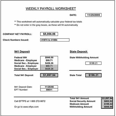 free weekly payroll tax worksheet