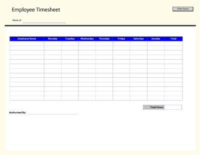 Employee Time Sheet Template