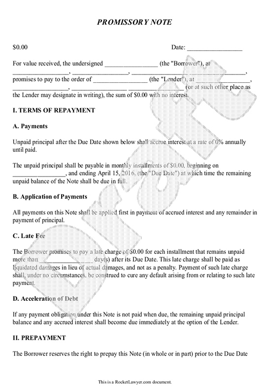 Promissory Note Template Form Can Be Customized And Edited