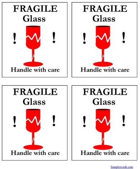 Shipping Label - FRAGILE Glass