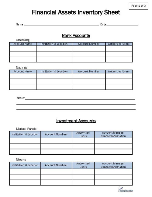 Printable Financial Asset Inventory Sheet