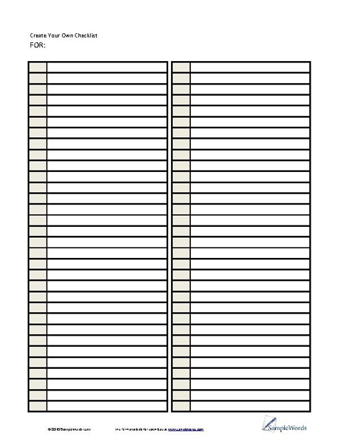 picture regarding Blank Checklist known as Deliver Your Particular Record - PDF