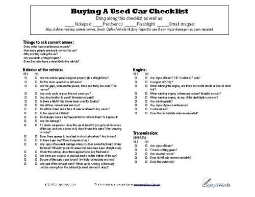 Used Car Checklist pdf printable