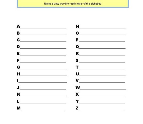 Alphabet Baby Shower Game Answers