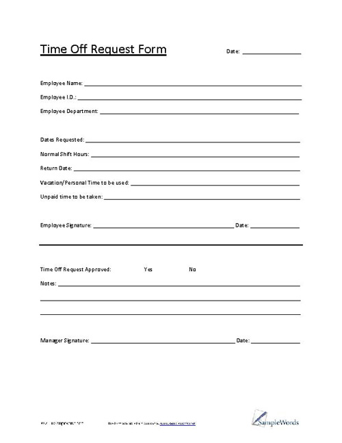 request for time off form pdf Time Off Request Form