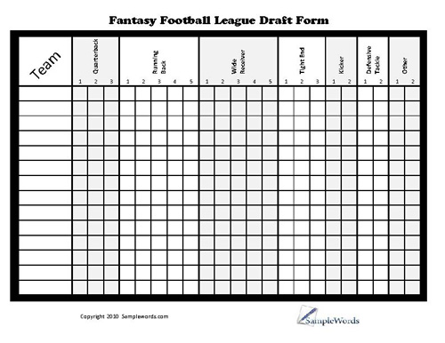 picture relating to Fantasy Football Depth Chart Printable identify Printable Myth Soccer League Draft Kind