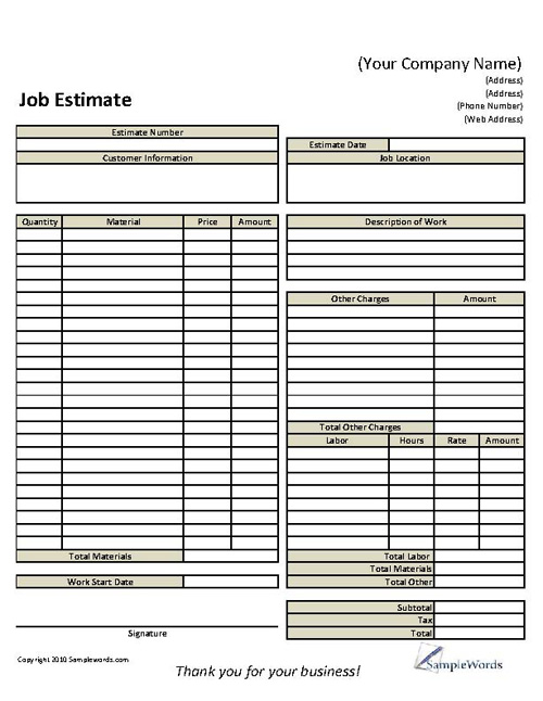 basic job estimate form
