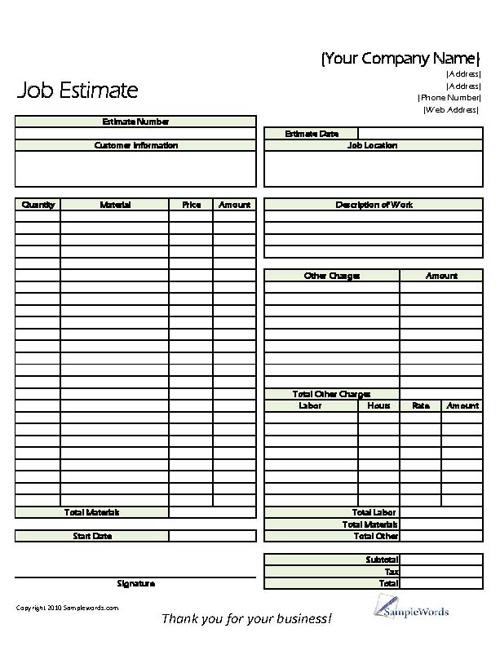 Classic Job Estimate Form