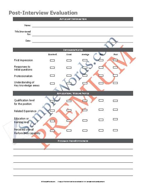 job interview feedback form premium download