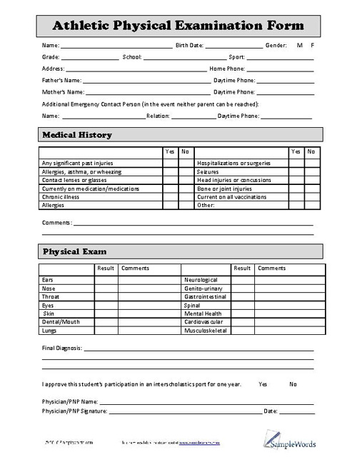 generic sports physical form pdf  Printable Sports Physical Form That are Adorable | Katrina Blog